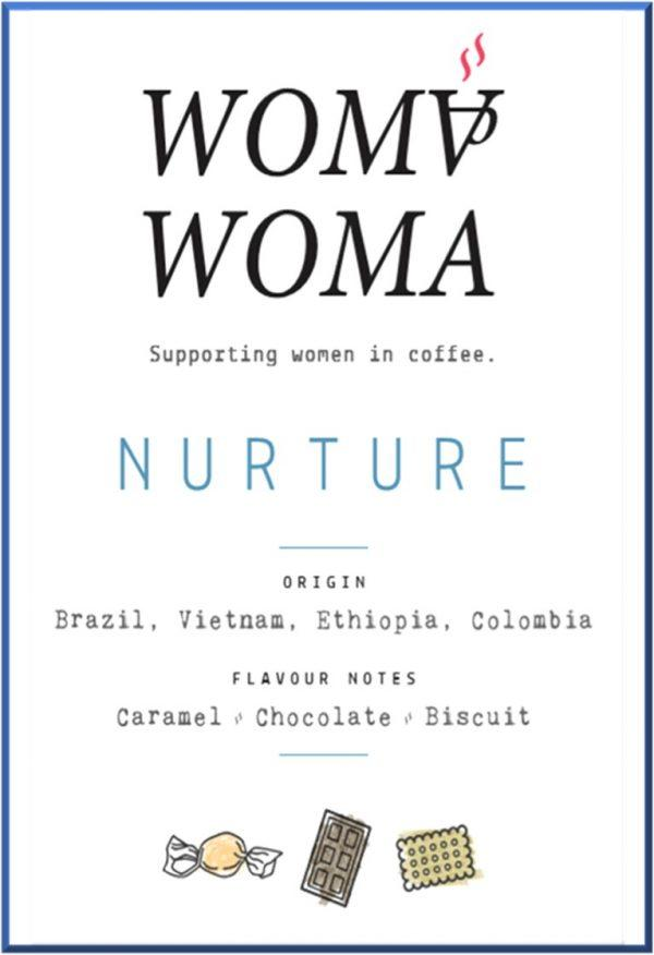 Nurture coffee label blue border